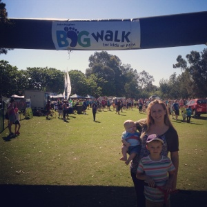 walking in support of  kids with cancer